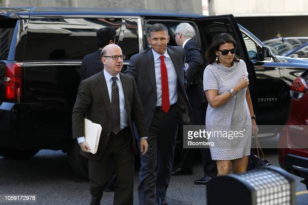 Michael Flynn former US national security advisor center arrives for a status hearing at federal court in Washington DC US on Tuesday July 10 2018 US...
