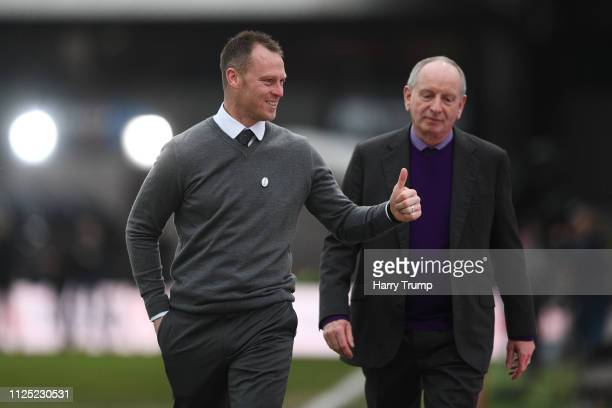 Michael Flynn Manager of Newport County acknowledges the fans as he arrives at the stadium prior to the FA Cup Fifth Round match between Newport...