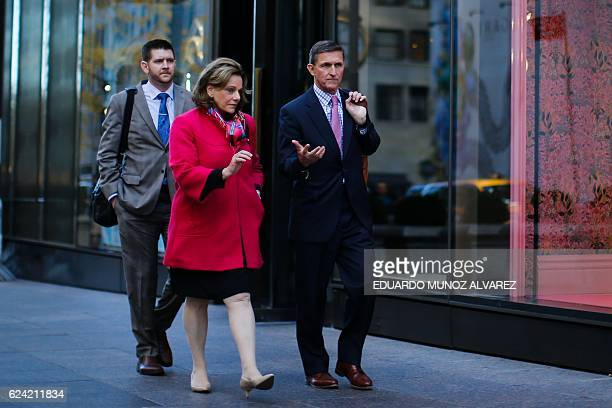 Michael Flynn newly appointed National Security Advisor for US President Donald Trump leaves Trump Tower in New York City on November 18 2016 / AFP /...