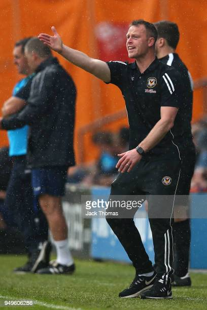 Michael Flynn of Newport County AFC gives instructions to his team during the Sky Bet League Two match between Barnet FC and Newport County at The...