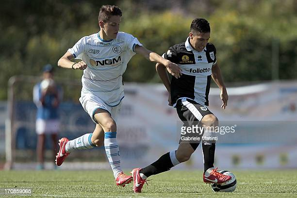 Michael Fontanelli of Empoli FC competes with Jose Mauri of FC Parma during the Campionato Allievi Nazionali final match between Empoli FC and FC...