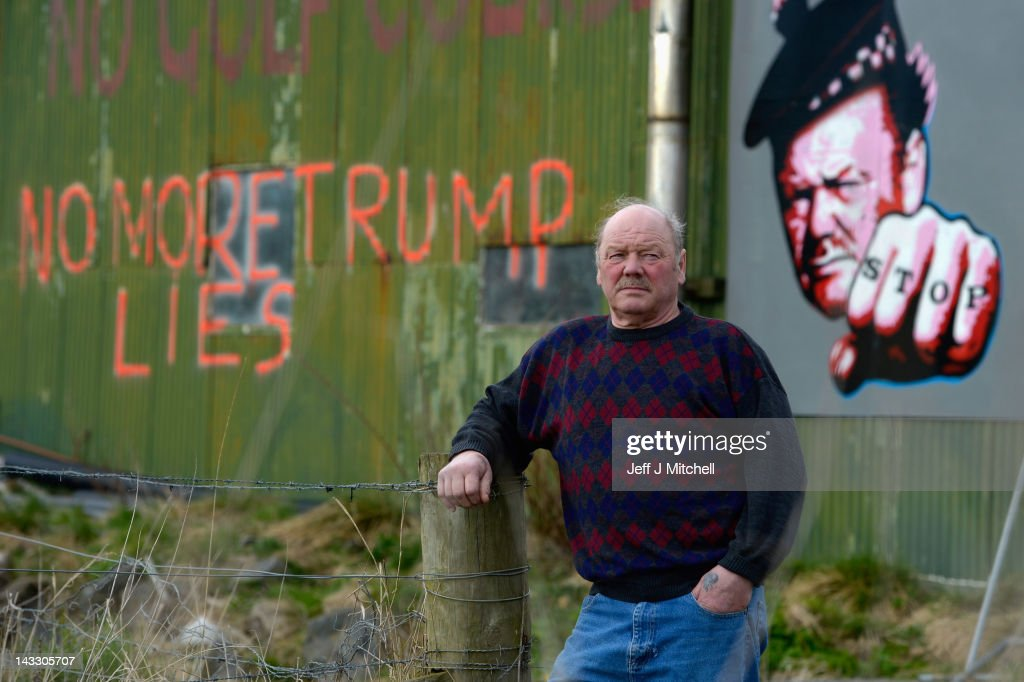 Michael Forbes stands beside his shed, near to Donald Trump's golf course which is currently under construction on the Menie estate on April 23, 2012 in Aberdeen, Scotland. Mr Trump will appear before the Scottish Parliaments Economy, Energy and Tourism committee on Wednesday to voice his concerns over the Scottish government's policy of promoting wind power. A decision is expected later this year on the government's plans to erect 11 turbines of the coast next to the Menie estate golf course.