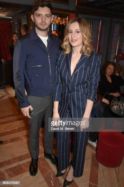 Michael Fox and Laura Carmichael wearing Paul Smith attend the Paul Smith Malgosia Bela AW18 Lunch on January 21 2018 in Paris France