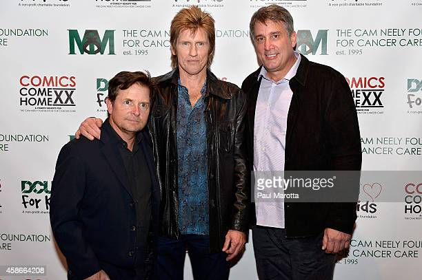 Michael Fox Denis Leary and Cam Neely backstage prior to the 2014 Comics Come Home Benefiting The Cam Neely Foundation For Cancer Care at TD Garden...