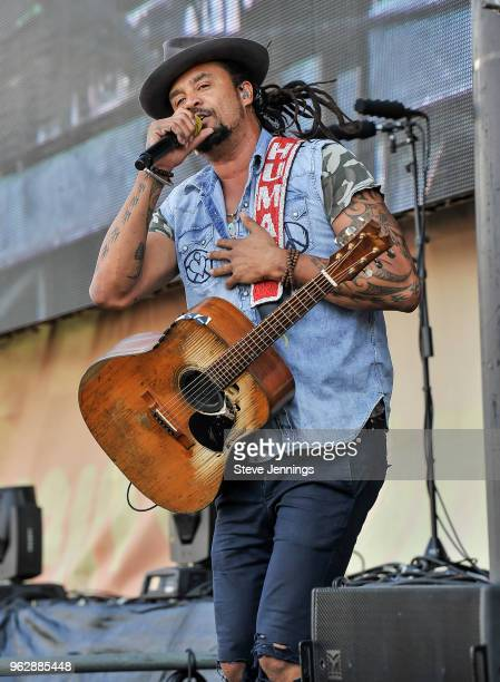 Michael Franti Spearhead perform at BottleRock Napa Valley Music Festival at Napa Valley Expo on May 26 2018 in Napa California