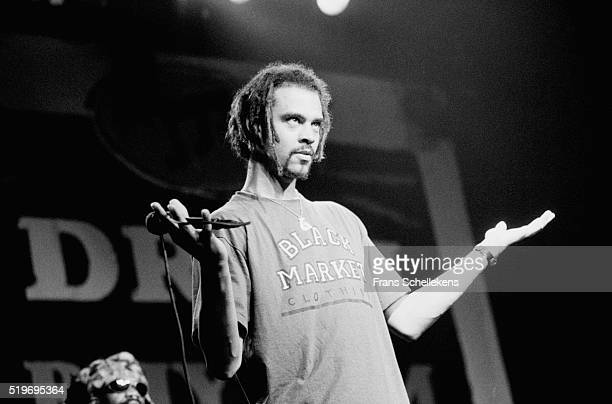Michael Franti, vocal, performs with Spearhead at the Escape disco on May 27th 1995 during Drum Festival in Amsterdam, Netherlands.