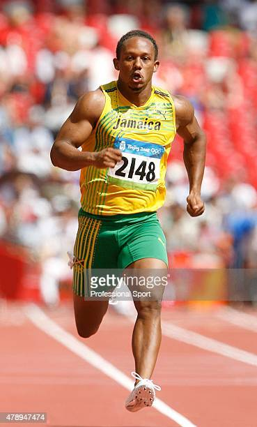 Michael Frater of Jamaica in action during the Men's 100m Heats at the National Stadium on Day 7 of the Beijing 2008 Olympic Games on August 15 2008...