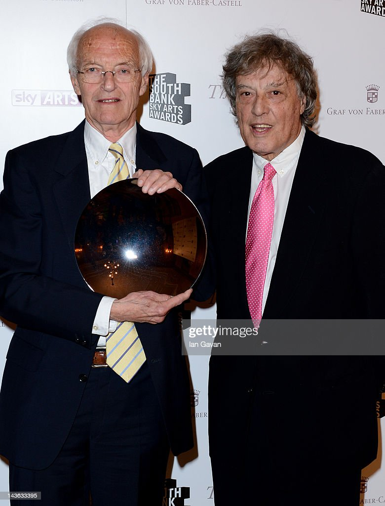 Michael Frayn, winner of the oustanding achievment award presented by Tom Stoppard pose during the South Bank Sky Arts Awards at Dorchester Hotel on May 1, 2012 in London, England.