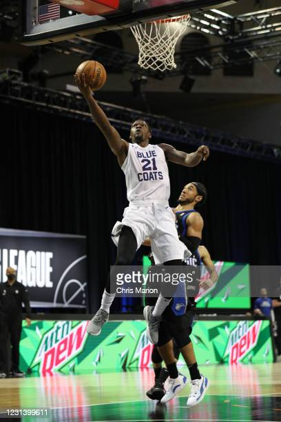 Michael Frazier II of the Delaware Blue Coats goes to the basket against the Lakeland Magic on February 26, 2021 at HP Field House in Orlando,...