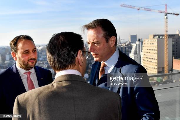 Michael Freilich, N-VA's Bart De Wever and Andre Gantman pictured during a press conference of N-VA to present the elections list for Antwerp...