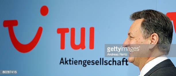 Michael Frenzel, chairman of German tourism, travel and shipping group giant TUI AG looks on prior to the annual press conference on March 18, 2008...
