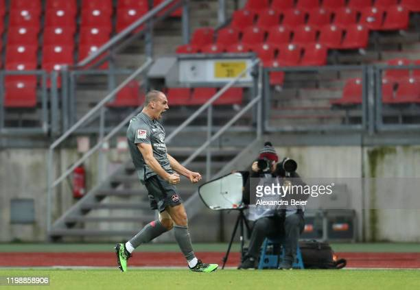 Michael Frey of 1. FC Nuernberg celebrates his first goal during a friendly match between 1. FC Nuernberg and FC Bayern Muenchen at...