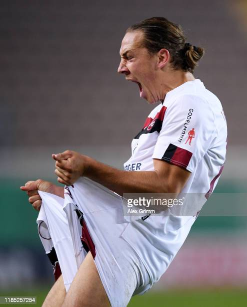 Michael Frey of Nuernberg celebrates his team's second goal during the DFB Cup second round match between 1. FC Kaiserslautern and 1. FC Nuernberg at...