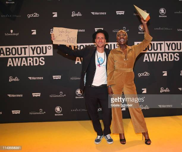 Michael Fritz and Nikeata Thompson during the 3rd ABOUT YOU Awards at Bavaria Studios on April 18 2019 in Munich Germany