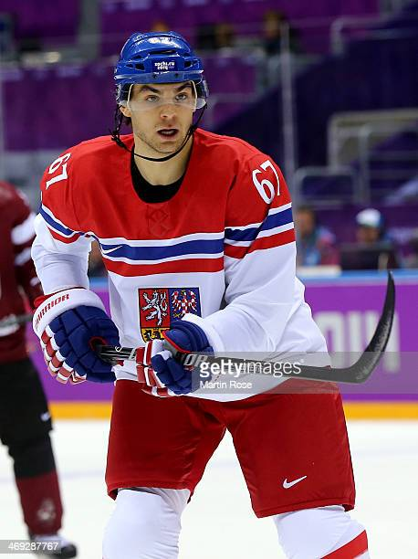 Michael Frolik of Czech Republic skates in the first period against Latvia during the Men's Ice Hockey Preliminary Round Group C game on day seven of...