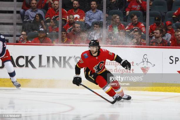Michael Frolik of the Calgary Flames skates against the Columbus Blue Jackets during an NHL game on March 19, 2019 at the Scotiabank Saddledome in...