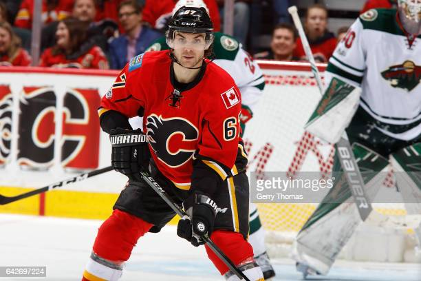 Michael Frolik of the Calgary Flames skates against the Minnesota Wild during an NHL game on February 1 2017 at the Scotiabank Saddledome in Calgary...