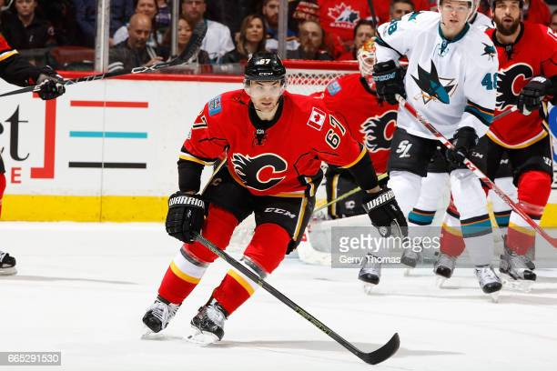 Michael Frolik of the Calgary Flames skates against the San Jose Sharks during an NHL game on March 31 2017 at the Scotiabank Saddledome in Calgary...