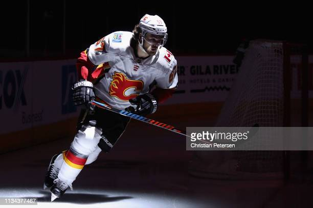 Michael Frolik of the Calgary Flames skates on the ice before the start of the NHL game against the Arizona Coyotes at Gila River Arena on March 07...