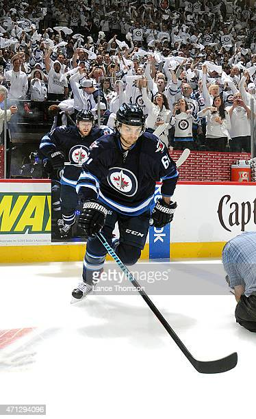 Michael Frolik of the Winnipeg Jets steps onto the ice prior to the faceoff against the Anaheim Ducks for Game Three of the Western Conference...