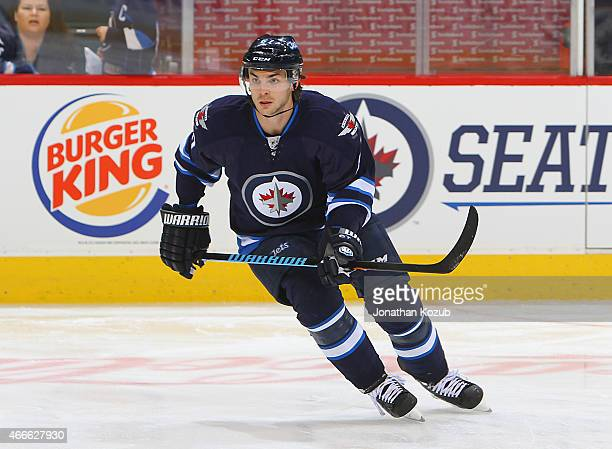 Michael Frolik of the Winnipeg Jets takes part in the pregame warm up prior to NHL action against the San Jose Sharks on March 17 2015 at the MTS...