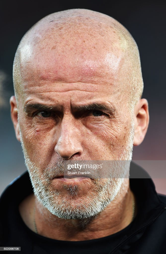 Michael Frontzeck, head coach of Hannover looks on during the Bundesliga match between Hannover 96 and FC Bayern Muenchen at HDI-Arena on December 19, 2015 in Hanover, Germany.