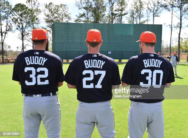 Michael Fulmer Jordan Zimmermann and Alex Wilson of the Detroit Tigers pose for a photo while all wearing jerseys with the name 'Buddy' on the back...