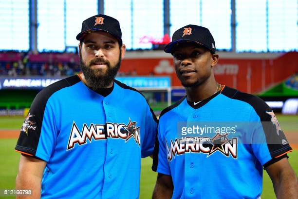 Michael Fulmer of the Detroit Tigers and the American League and Justin Upton of the Detroit Tigers and the American League look on during Gatorade...