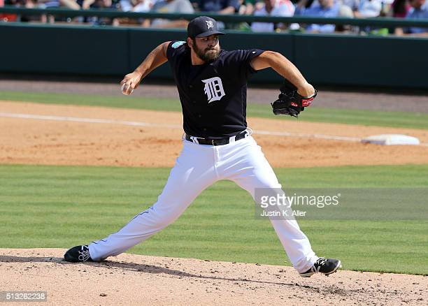 Michael Fulmer of the Detroit Tigers in action during the game against the Pittsburgh Pirates at Joker Marchant Stadium on March 1 2016 in Lakeland...