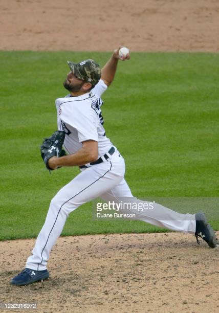 Michael Fulmer of the Detroit Tigers pitches against the Chicago Cubs during the 10th inning at Comerica Park on May 15 in Detroit, Michigan. The...