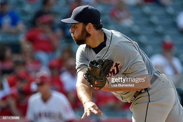 Michael Fulmer of the Detroit Tigers pitches against the Los Angeles Angels of Anaheim at Angel Stadium of Anaheim on June 1 2016 in Anaheim...