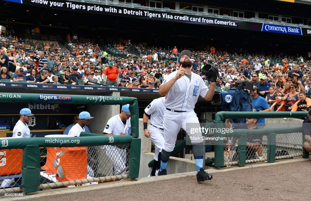 Michael Fulmer #32 of the Detroit Tigers runs out of the dugout at the start of the game against the Tampa Bay Rays while wearing a special blue jersey, socks and hat for prostate cancer awareness on Father's Day Weekend at Comerica Park on June 17, 2017 in Detroit, Michigan. The Rays defeated the Tigers 3-2.
