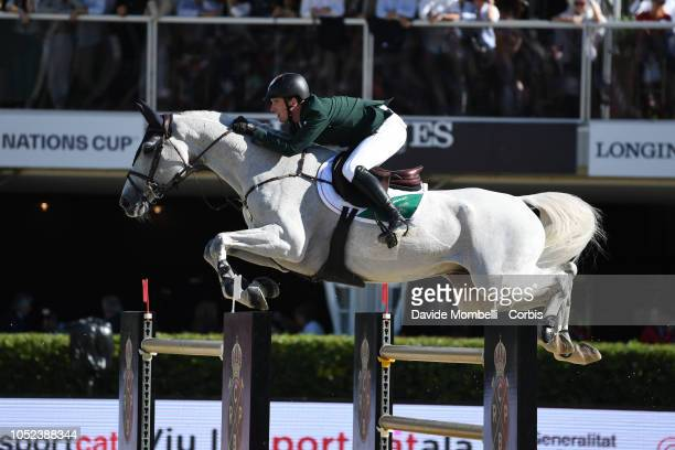 Michael G Duffy of Ireland riding Lapuccino 2 during Longines FEI Jumping Nations Cup Final Competition on October 7 2018 in Barcelona Spain