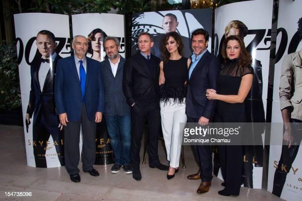 Michael G Wilson, Director Sam Mendes, Daniel Craig, Berenice Marlohe, Javier Bardem and Barabara Broccoli pose during the photocall for the film...