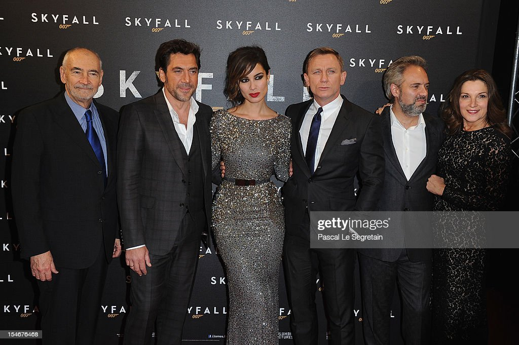 Michael G Wilson, Javier Bardem, Berenice Marlohe, Daniel Craig, Sam Mendes and Barbara Broccoili attend the premiere of the latest James Bond 'Skyfall' at Cinema UGC Normandie on October 24, 2012 in Paris, France.