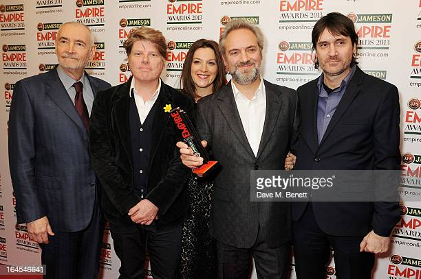 Michael G Wilson Robert Wade Barbara Broccoli Sam Mendes and Neal Purvis pose in the press room with the award for Best Film for 'Skyfall' at the...