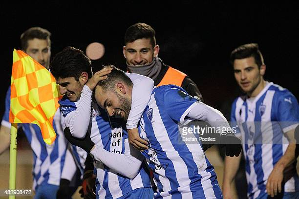 Michael Gaitatzis of Sydney Olympic celebrates after scoring a goal during the FFA Cup match between Gungahlin United FC and Sydney Olympic FC at...