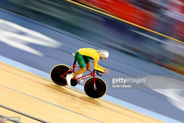 Michael Gallagher of Australia competes in the Men's Individual C5 Pursuit Final on day 3 of the London 2012 Paralympic Games at Velodrome on...