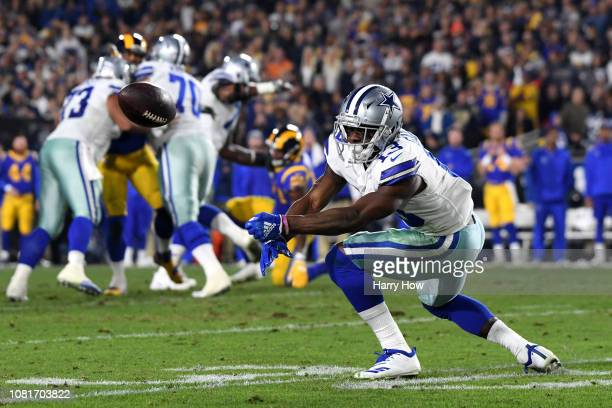 Michael Gallup of the Dallas Cowboys drops a pass in the second quarter against the Los Angeles Rams in the NFC Divisional Playoff game at Los...