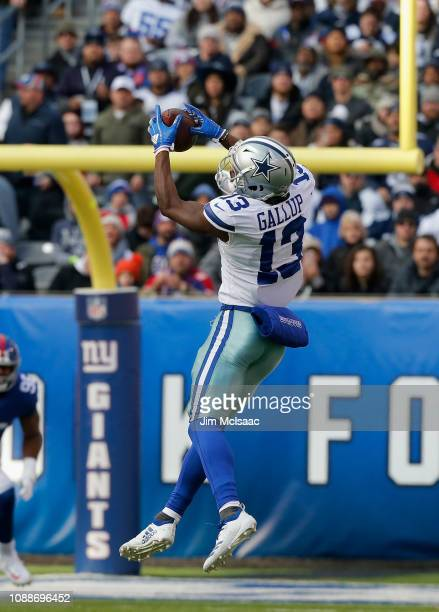 Michael Gallup of the Dallas Cowboys in action against the New York Giants on December 30 2018 at MetLife Stadium in East Rutherford New Jersey The...