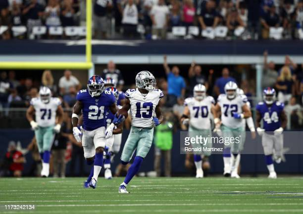 Michael Gallup of the Dallas Cowboys makes a catch and run for 62yards against the New York Giants at ATT Stadium on September 08 2019 in Arlington...