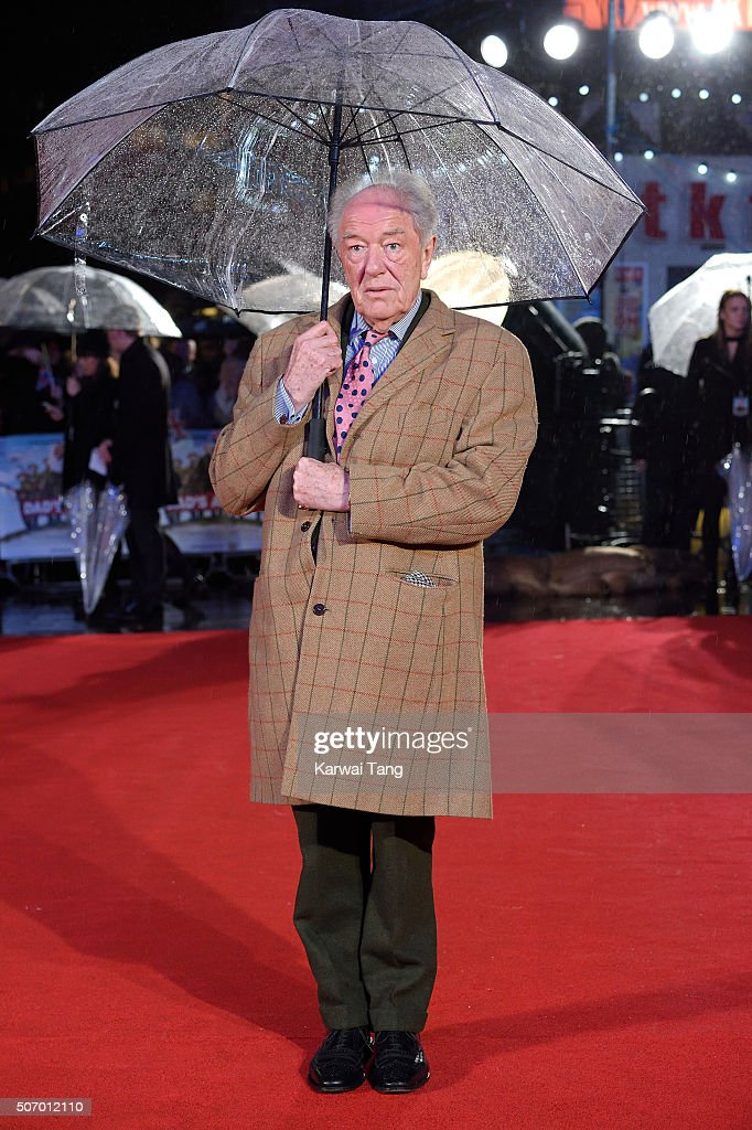 Michael Gambon attends the World Premiere of 'Dad's Army' at Odeon Leicester Square on January 26, 2016 in London, United Kingdom.