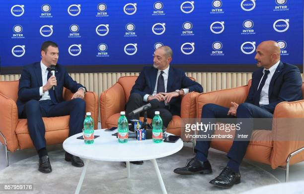 Michael Gandler Michele Crisci and Luciano Spalletti attend the press conference as FC Internazionale unveil their new partnership with Volvo on...