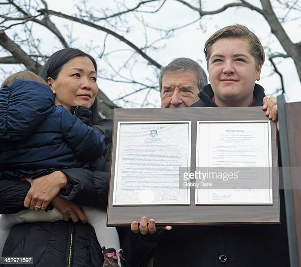 Michael Gandolfini Deborah Lin and daughter Liliana Ruth Gandolfini attend the James Gandolfini Street Naming Ceremony on December 1 2013 in Park...