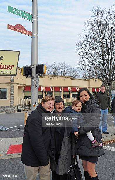 Michael Gandolfini Guest Deborah Lin and daughter Liliana Ruth Gandolfini attend the James Gandolfini Street Naming Ceremony on December 1 2013 in...