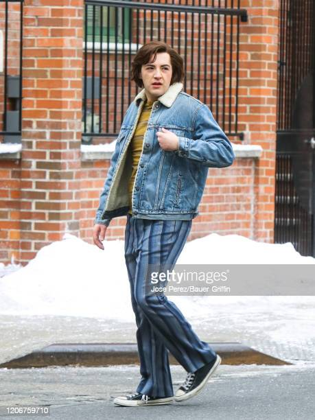 Michael Gandolfini is seen on the movie set of 'The Many Saints of Newark' on March 12 2020 in New York City