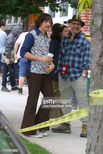 Michael Gandolfini is seen on the set of 'The Many Saints of Newark' on May 31 2019 in New York City