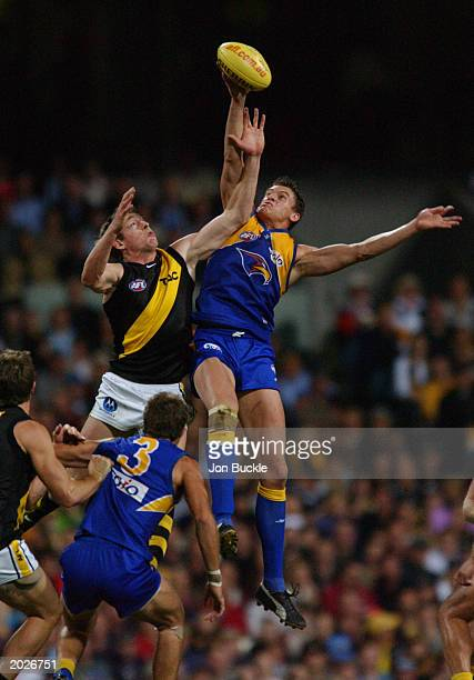 Michael Gardiner of the Eagles is challenged by Royce Vardy of the Tigers during the AFL Round nine match between the West Coast Eagles and Richmond...