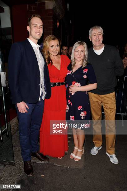Michael Gardner and fiancee Amy Eley pose for pictures outside the Coliseum theatre with members of the cast of Carousel Katherine Jenkins and...