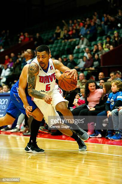 Michael Gbinije of the Grand Rapids Drive handles the ball against the Delaware 87ers at The DeltaPlex Arena on December 10 2016 in Grand Rapids...